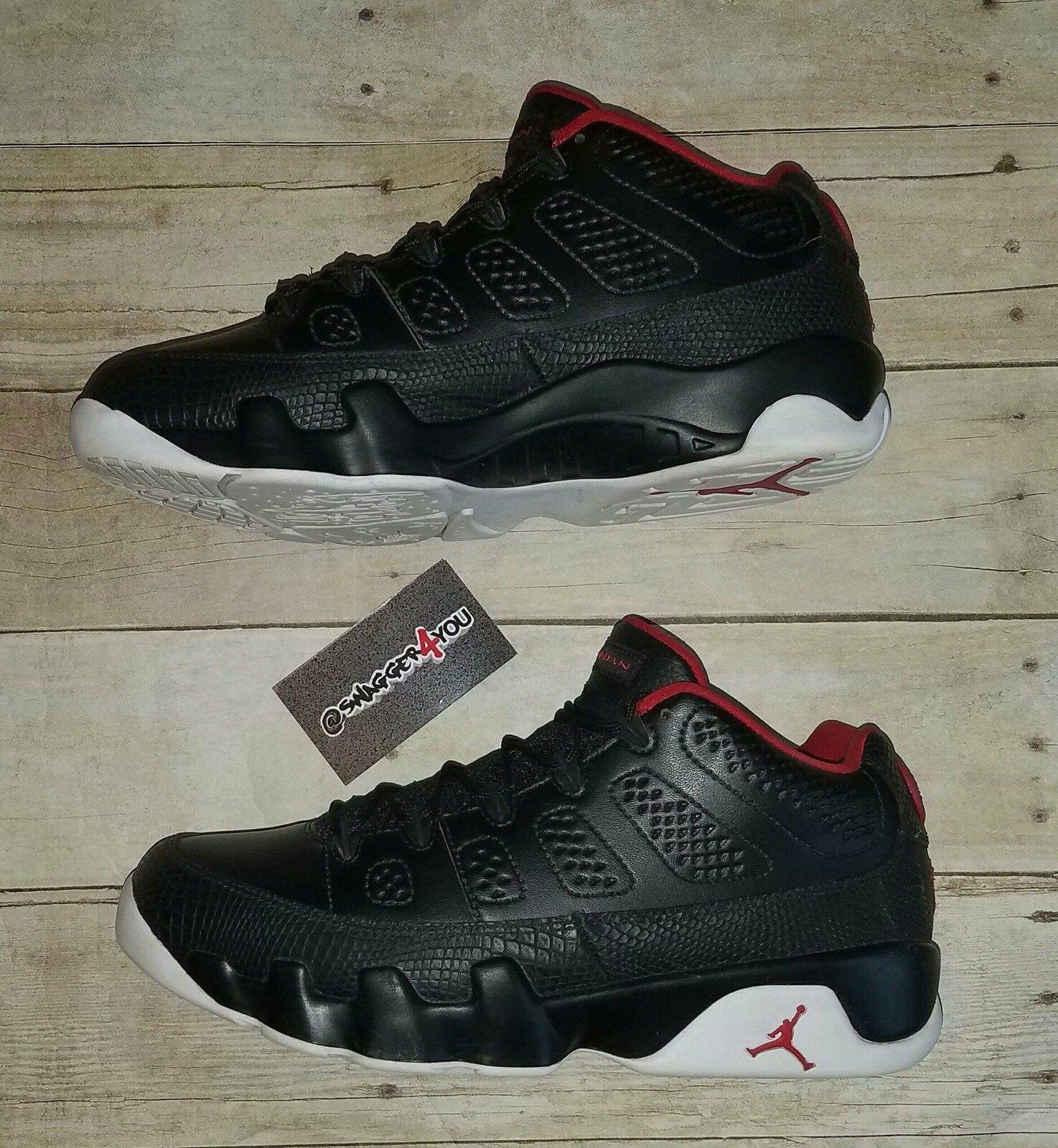 Nike Air Jordan Retro 9 IX Low Bred Black Snakeskin & Red Mens Price reduction New shoes for men and women, limited time discount