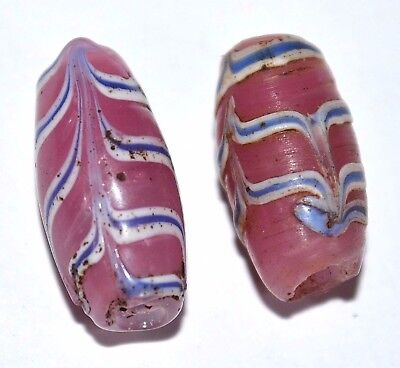 Antique Venetian Rare Pink Lampwork Italian Glass Feather Beads, African Trade