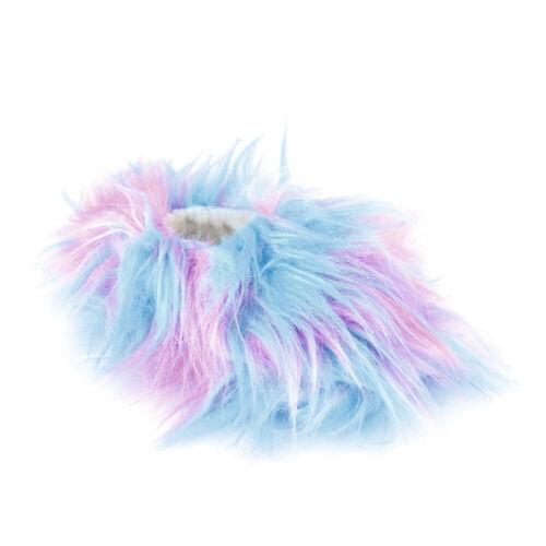 Girls Pink /& Blue Rainbow Wild Shaggy Faux Fur Fleece Lined Slippers 4 UK Sizes