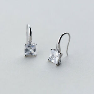 Damen Ohrstecker Ohrhänger Zirkonia Rund echt Sterling Silber 925 Ohrringe