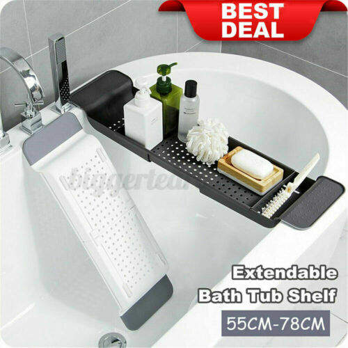 Extendable Bathtub Bath Tub Rack Tray Table Bathroom  Organizer Holder