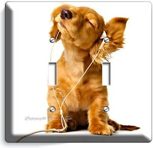 Cute Puppy Headphones Music Dog Double Light Switch Wall Plate Cover Room Decor Ebay