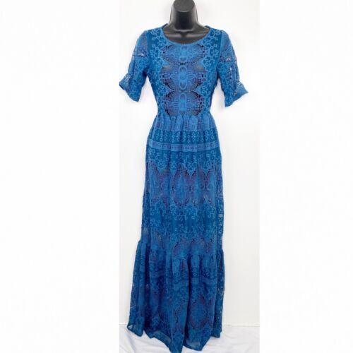 For Love And Lemons Sienna Maxi Dress Blue Crochet