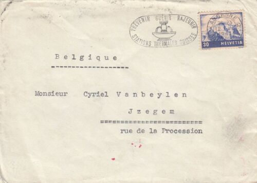 Stamp Switzerland 1942 on cover to Belgium German censor tape & red marks back