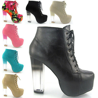 NEW WOMENS CLEAR HEEL ANKLE BOOTS LADIES CONCEALED PLATFORM HEEL SHOES SIZE