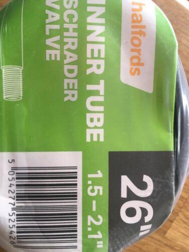 "Halfords Mountain Bike Inner tube Schrader Valve 26"" 1.5-2.1 "" Big Valve"