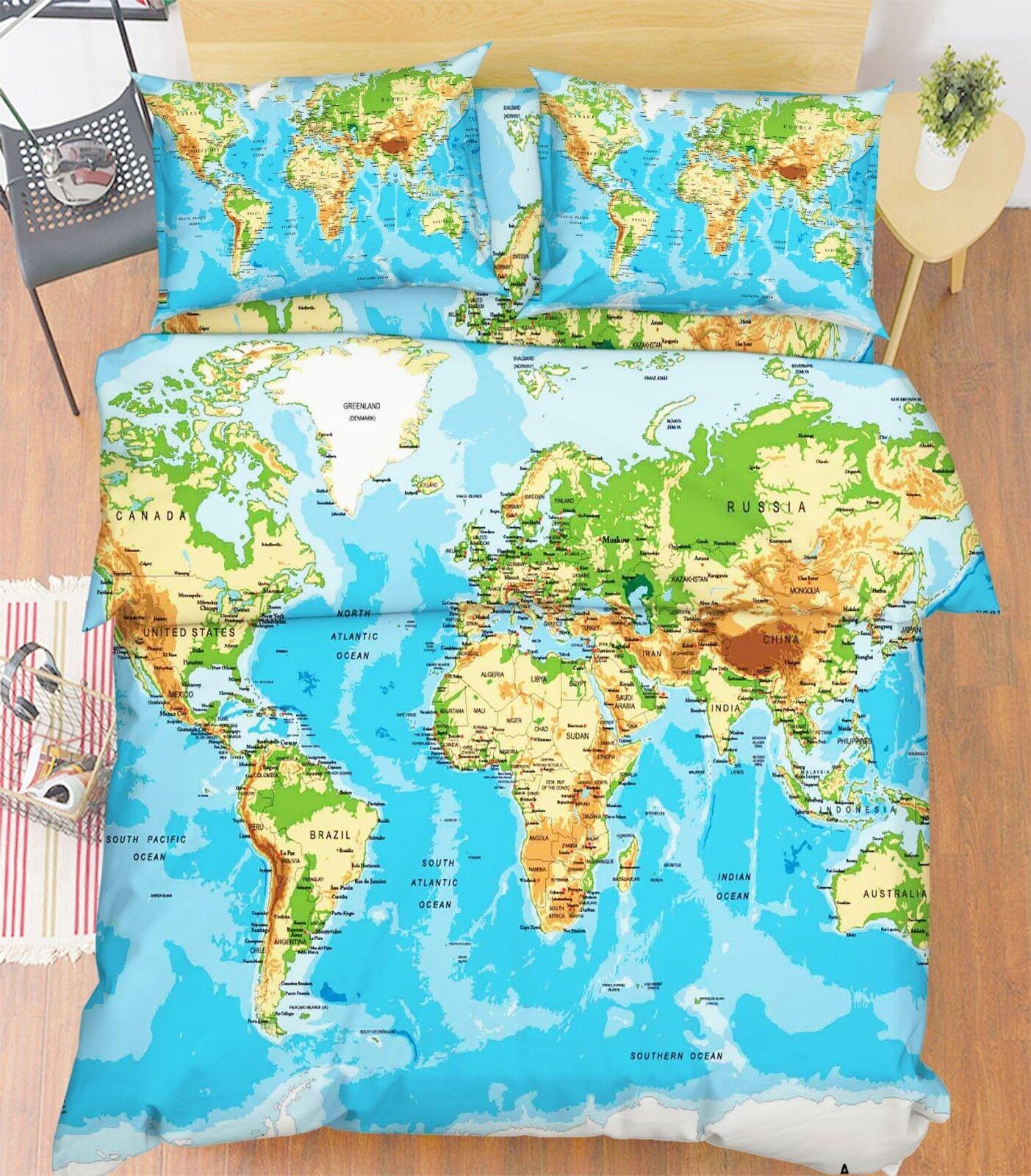 3D Sea World Map 686 Federe Letto Trapunta Set Copripiumino Singolo King Regno Unito Lemon