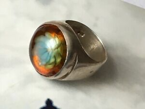 Sz-N-English-Hallmarks-Vintage-Silver-Lucite-Resin-Flower-Chunky-Ring