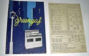 Dettagli su catalogo greengas CUCINE , FORNELLI vintage RARO ( 1966 ) con  listino prezzi
