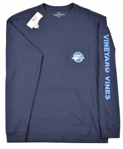 Vineyard Vines Mens Long-Sleeve Two Tarpons Pocket T-Shirt Vineyard Navy