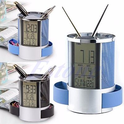 Digital LCD Desk ALarm Clock & Mesh Pen Pencil Holder Time Temp Calendar Office