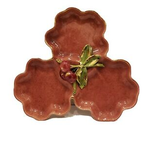 Vintage-Hope-Warren-California-Pottery-Divided-Dish-with-Applied-Cherries