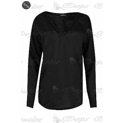 Femmes Col V Ourlet Courbe Bouffant Pull Ample Pour Dames Pull Sweatshirt