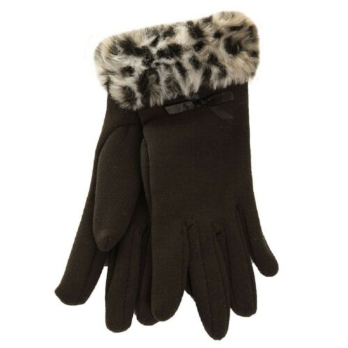 Ladies Womens Girls Black Gloves Faux Fur Cuff 4 Colours One Size