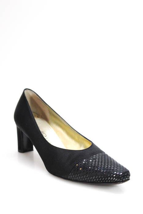 St. John Womens Pumps Heels Size 8.5 Black Satin Square Toe