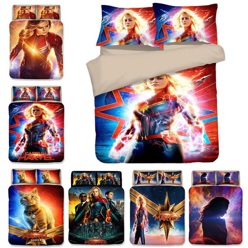 Captain Marvel 3D Design Duvet Cover Bedding Set 3PC Quilt Cover Pillowcase Warm