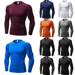 Mens-Compression-T-Shirt-Long-Sleeve-Gym-Base-Layer-Under-Top-Sports-Fitness