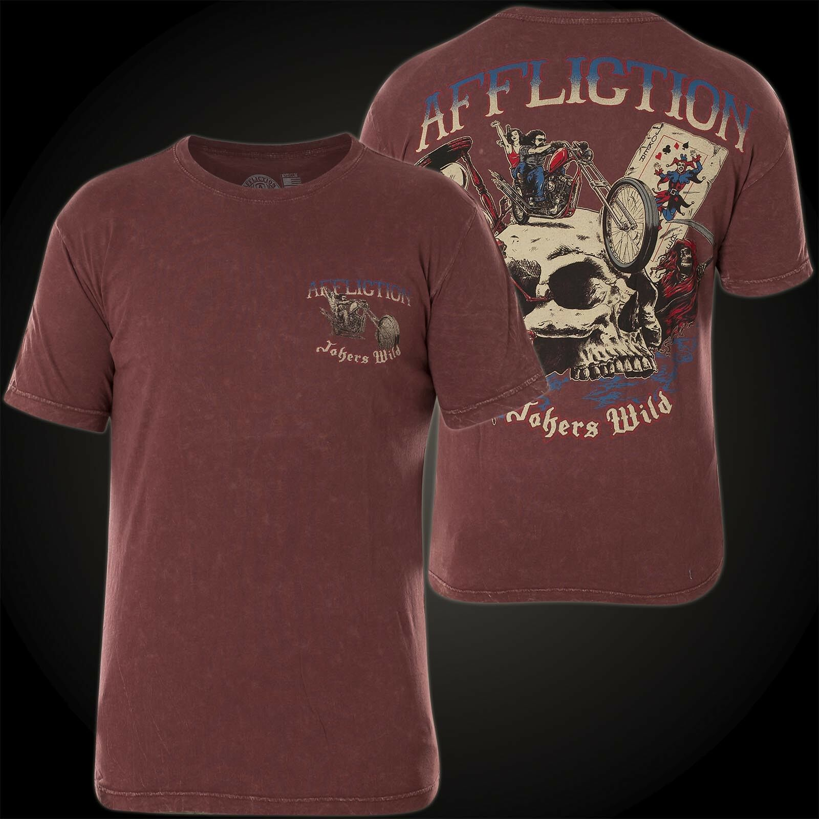 Affliction T-Shirt Jokers Wild Wine Red