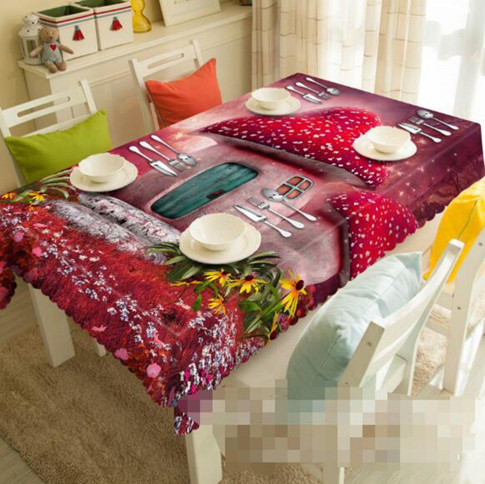 3D Mushroom House 2 Tablecloth Table Cover Cloth Birthday Party Event AJ Lemon