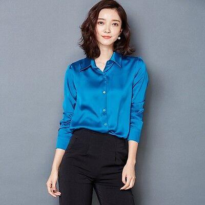Womens Long Sleeve Faux Silk Satin Shirt Ladies Turn Down Collar Wet Look Top
