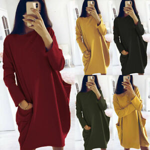 New-Ladies-Italian-Lagenlook-Cotton-Long-Sleeve-Tunic-Dress-Plus-Size-10-28