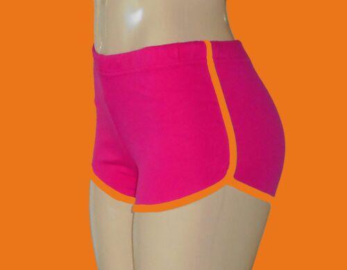 Hot Pink Retro Running Shorts with Neon Orange Trim Lg