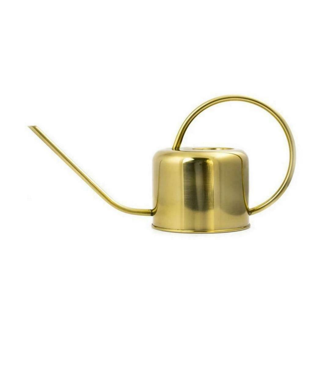 Kikkerland Continuous Handle Vintage Gold Garden House Plant 1.2L Watering Can