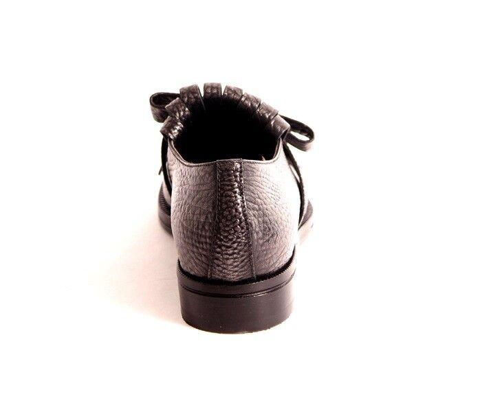 Laura Bellariva 9200 Gray Pebbled Pelle / Fringe / Bow Bow Bow Scarpe 38.5 / US 8.5 9f2ab5