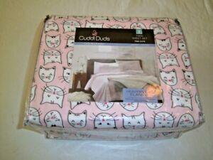 NIP-CuddlDuds-Pink-Kitty-Cats-Twin-Sheet-Set-100-Cotton-heavyweight-flannel