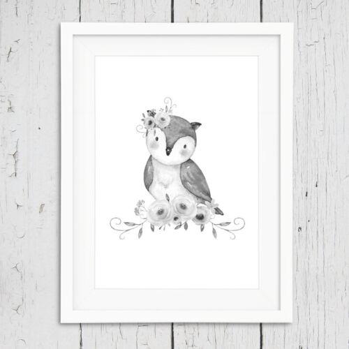 Neutral Grey Floral Boho Animal Nursery Prints Childrens Bedroom Decor Pictures