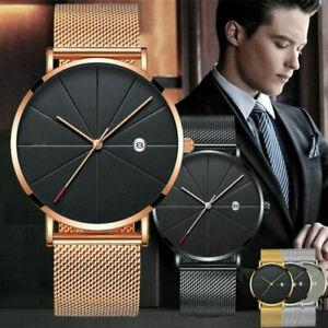 Trendy-Men-Ultra-Thin-Minimalist-Watch-Slim-Steel-Strap-Stainless-Steel-Quartz