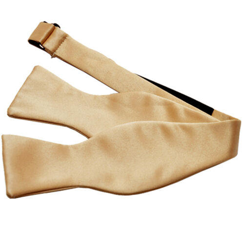 New Men/'s 100/% Polyester Solid Formal Self-tied Bow Tie Only Beige