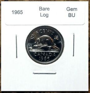 Canada-1965-Five-Cents-Bare-Log-Variety-Gem-BU