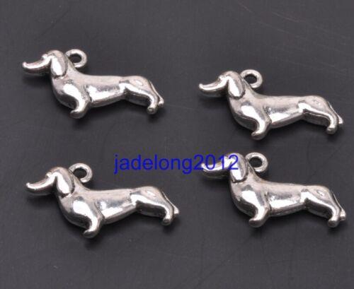 10pcs Tibetan Silver Charms Dachshund Dog Pendants 19x12mm Jewelry Making C3122