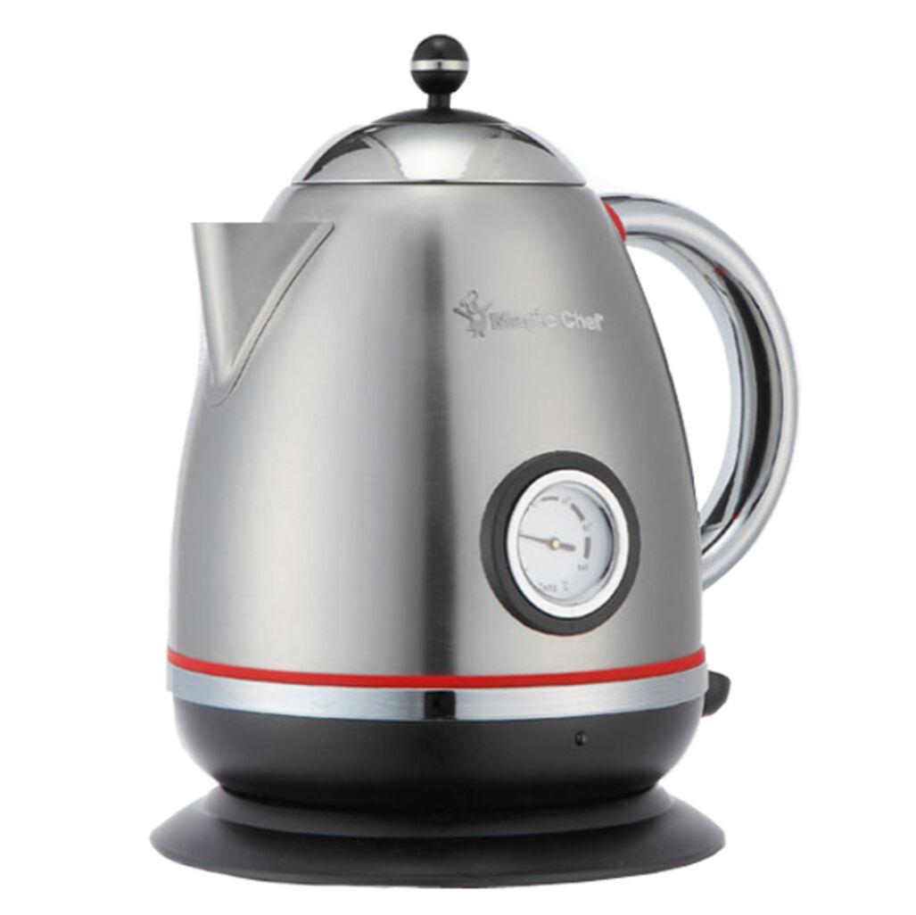 Magic Chef Retro Design Stainless Electric Tea Kettle 1.2L Cream Grey 220V 60Hz