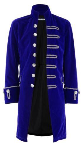 Handmade Renaissance Men/'s Velvet Goth Steampunk Victorian Frock Coat//Blue