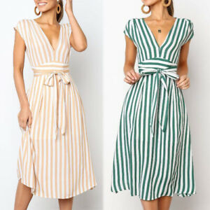 Fashion-Women-High-Waist-Striped-Shirt-Dress-Long-Party-Summer-Elegant-Skirts