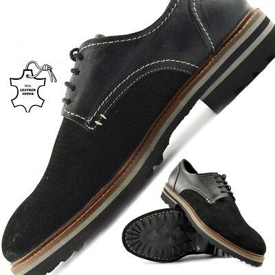 GroßZüGig Men's Leather Contrast Black Brogues Smart Formal Shoes Exquisite (In) Verarbeitung