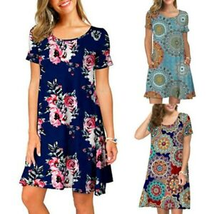 Boho-Women-Floral-Short-Sleeve-Dress-Causual-Party-Evening-Summer-Bench-Sundress