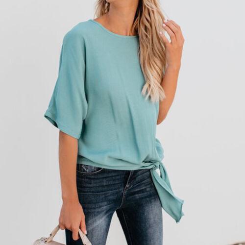 Damen Bluse Sommer T-Shirt Kurzarm Knoten Tops Shirt Tunika Hemd Oberteile Neu