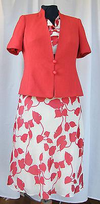Analitico Jacques Vert Pimento Gamma Foglia Rossa Stampa Color Crema Vestito Pimento Giacca Rossa R1l-