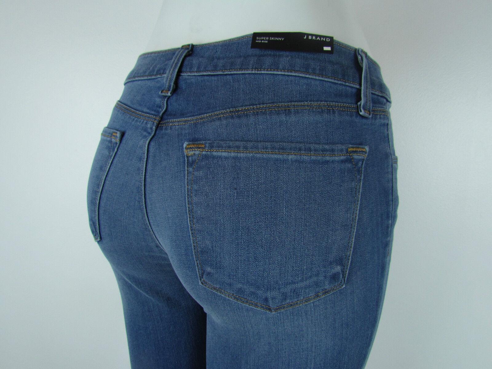 New J BRAND 620 SUPER SKINNY Mid Rise Jeans Woman SZ 27 IN LUCAS MEDIUM blueE