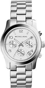 NEW Michael Kors MK5076 Women's Runway Watch Analog Chrono Date Stainless Steel