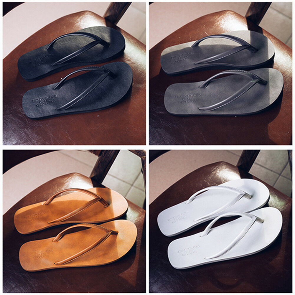 New Men's Flip Flops PU Leather Slippers Men Summer Fashion Beach Sandals Shoes