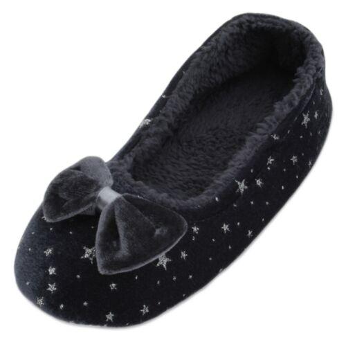 Slumberzzz Ladies Soft Velour Glitter Star Ballet Slipper