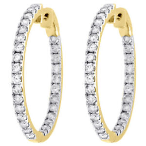 10K-Yellow-Gold-Diamond-In-amp-Out-Hoops-Round-Hinged-Earrings-1-25-034-Long-3-CT