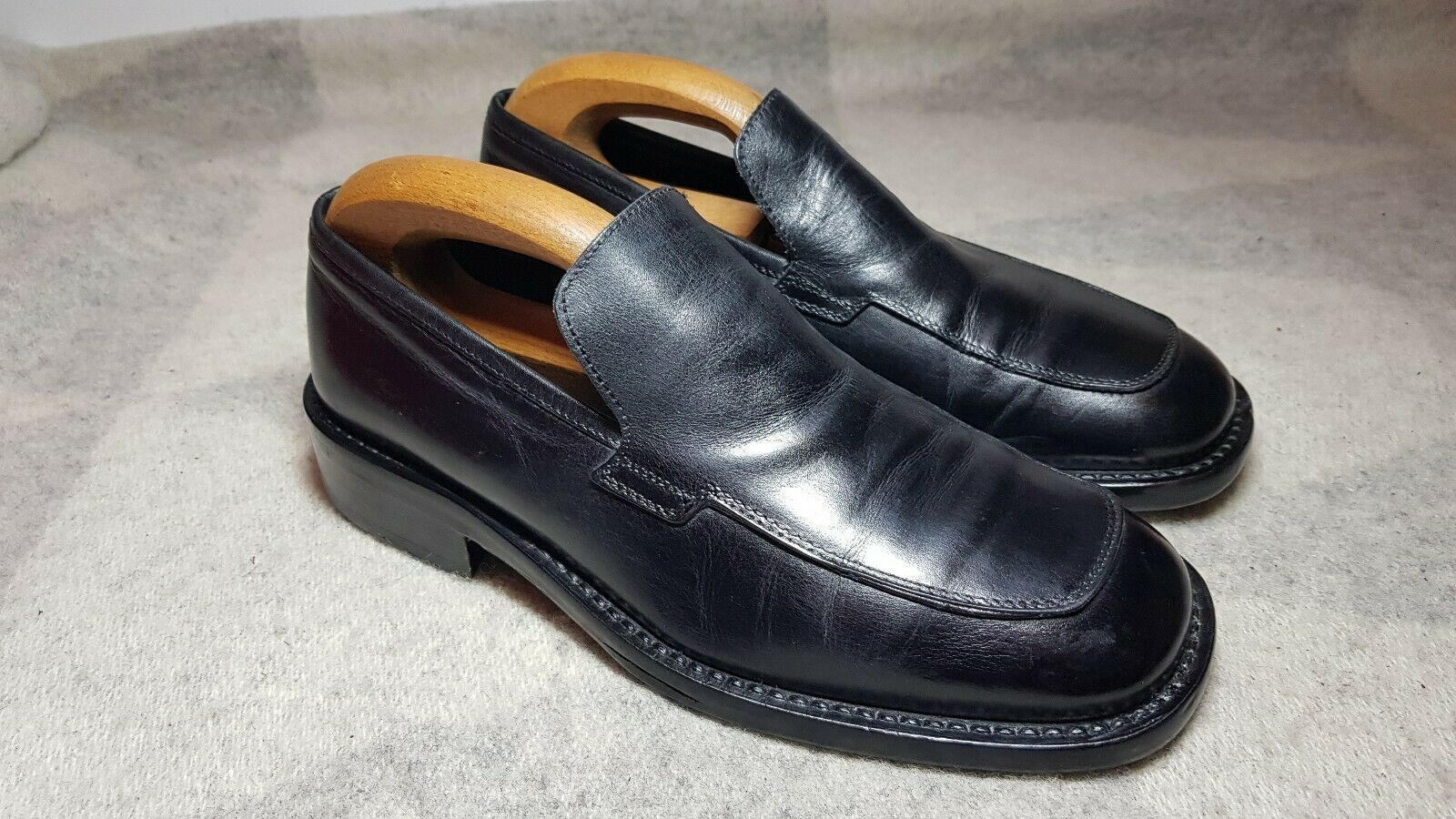 Victor Victoria Leather Loafers Size 7 Black Mens Shoes Made In Italy