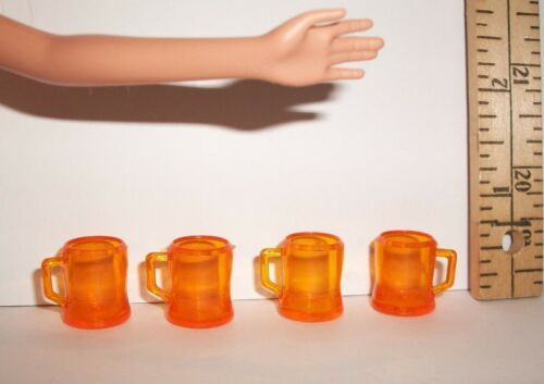 VINTAGE KITCHEN BEER PLASTIC MUGS LOT 1//6 SCALE DOLL ACCESSORY MINT FILLABLE OSS
