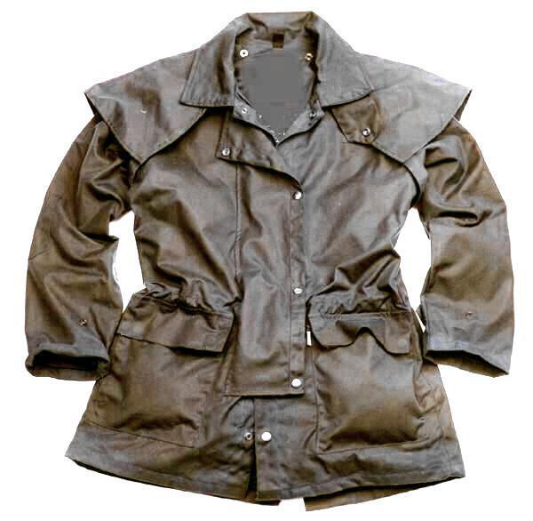 Cera Wax Oilskin lluvia australia Drover cochero chaqueta marrón