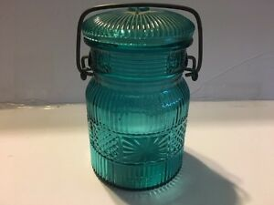 VINTAGE AVON Canning Jar Aqua or Blue Green Glass with Wire Bail